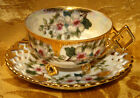VINTAGE CASTLE CHINA JAPAN CUP & SAUCER HAND PAINTED LUSTER FLORAL GOLD TRIM