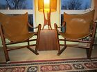 2 EARLY MID CENTURY SLING SAFARI CHAIRS  ERIK WORTS STYLE CAMPAIGN CHAIR