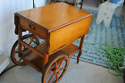 French Country Victorian Rolling Tea Serving Cart Wood Service Buffet Drop Leaf