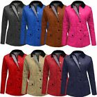 WOMENS QUILTED PADDED COAT BUTTON ZIP TOP LADIES COLLAR JACKET SIZE 8 10 12 14