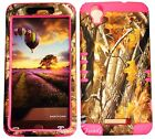 For ZTE N9520 Boost Max HYBRID SOFT & HARD RUBBER COVER CASE CAMO MOSSY OAK PINK