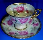 ROYAL SEALY CHINA JAPAN CUP AND SAUCER PINK FLOWERS GOLD ETCHED MOTHER OF PEARL