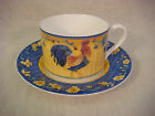 FITZ & FLOYD COQ DU VILLAGE SET OF 4 FLAT CUP AND SAUCER SETS CLASSIC CHOICES
