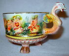 Vintage Capodimonte Italy Hand Painted Bird Woman Embossed Cherubs Porcelain Cup