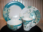 24pc 222 FIFTH ELIZA TEAL Peacock Feathers Fine China Dinnerware Set Serv 6 NEW