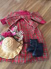 Holiday Dress With Hat And Shoes For 12 To 14 Inch Porcelain Dolls