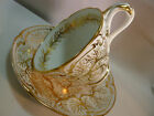 ANTIQUE  RIDGWAY TEA  CUP AND SAUCER SEAWEED    ENTWINED  LEAF HANDLE  c1840-65