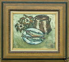 JOSEP TUR SPAIN MID CENTURY FISH STILL LIFE OIL PAINTING LISTED
