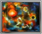 Leonardo NIERMAN Authentic Large ORIGINAL Oil Painting Cosmic Signed Framed Art
