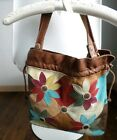 LUCKY BRAND Flower Patchwork Leather Hobo Bucket Purse Cinch Sides