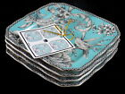 NEW 222 Fifth Set of 4 ADELAIDE TURQUOISE Dessert Appetizer Plates 6