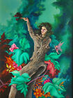 Forest Woman ORIGINAL ACRYLIC Surreal Art PAINTING by American Artist