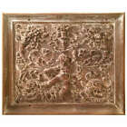 Magnificent Large Scale French Rococo Carved Oak Panel- a Putto, Rams Heads