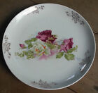 Two Early Old VTG ANTIQUE Floral ROSE DRESDEN GOLD TRIM CHINA PLATTER PLATE