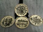 (4)BUCCIARELLI MILANO ITALY COASTERS HAND PAINTED;Black on off White,gold trim