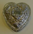 Large Antique English Sterling Silver Heart Shaped Box - Doves & Cherub - 1897