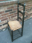 Antique Primitive Folk Art Painted Wood 3 Slat Ladderback Chair Rush Seat