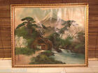 Vintage Japanese Painting on Silk Volcano Stream Windmill Pine trees Signed