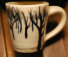 TREE SILHOUETTES Signed LCP 1970 Handcrafted Studio Pottery Mug Subtle Shadings