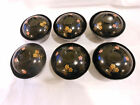 Six Vintage 1930's Japanese Black Satin Finish Lacquered Rice Bowls