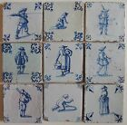 9 ANTIQUE DUTCH DELFT TILES
