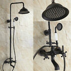 Exposed Bathroom Rainfall Shower Faucet Set Tub Mixer Tap Oil Rubbed Bronze