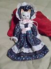 Porcelain Cat Doll in Dress, Hat and Bloomers - Porcelain head, legs and arms