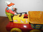 Vintage Easter Bunny Windup Pump Car Pressed Steel Tin Toy Wyandotte Rabbit USA