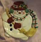 Fitz and Floyd Plaid Christmas Snowman Serving Plate in Original Box