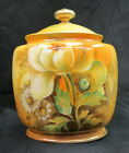 nippon white rose ginger / biscuit / tobacco jar & perfect lid  hand painted art