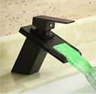 Modern Oil Rubbed Bronze LED Waterfall Bathroom Basin Faucet Single Sink Mixer