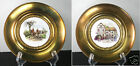 Solid Brass And Porcelain Decorative (2) Plates Vintage England Wall Decor