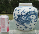 MARKED LARGE BLUE & WHITE CHINESE GINGER JAR WITH LID