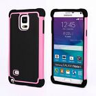For Samsung Galaxy Note 4 N910 - Pink Hard & Soft Rubber Hybrid Armor Case Cover