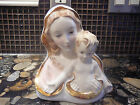 PORCELAIN FIGURE VIRGIN MARY  MADONNA & CHILD BUST STATUE MADE IN ITALY