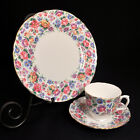 Crown Staffordshire TRIO CUP SAUCER & PLATE SPRINGTIME 1930-1974 PINK BLUE GOLD