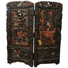 Elaborate Japanese Carved Wood and Lacquer Two-Panel Oni Samurai Screen c 1920