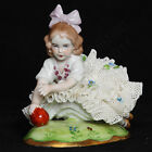 VTG Sitzendorf Germany Porcelain Dresden Lace Figurine Girl With Red Ball