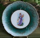 Gorgeous Pre-1900 WOMAN WITH LUTE Dark Green And Gold Porcelain Plate Austria