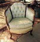 ANTIQUE VTG 30s FRENCH BERGERE ARM CHAIR CARVED FRENCH PROVINCIAL LOUIS XV