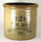 Antique Original ES&B New Brighton PA Stoneware 2 Gal Crock Cobalt Glaze Jug