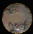 T&V Tressemann & Vogt LIMOGES Hand Painted  PLATE APPLE BLOSSOMS 1907-1919 GOLD