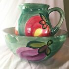 Culinary Collection Ceramic Bowl and Pitcher Made in Italy Painted Vegetables