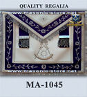 Masonic Past Master Apron Navy Blue Silver Embroidery with Fringe