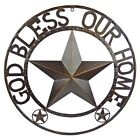 GOD BLESS OUR HOME Metal Barn Star Rustic Brown Texas Rope Ring Wall Decor 24