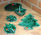 VTG Lefton Christmas Green Holly Berry Lot Plate Basket Candle Holder Candy Dish