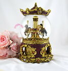 Purple Rain Forest musical box snow globe waterglobe - antique merry go round