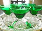 Estate Emerald Green & Clear Nappies Set of Five Dessert Fruit Parfait Bowls