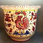 MADE IN ITALY DERUTA  Pottery ~Planter FLOWER Pot Sambuco ROOSTER PATTERN.MINT!