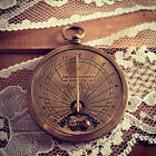 Sundial pocket watch pocketwatch pendant antique brass functional charm